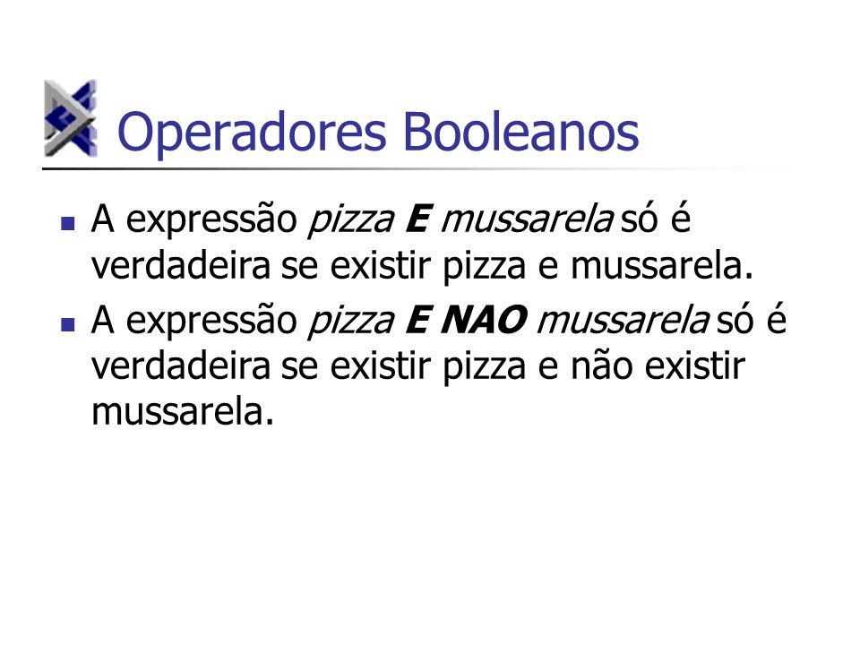 Operadores Booleanos A expressão pizza E mussarela só é verdadeira se existir pizza e mussarela.