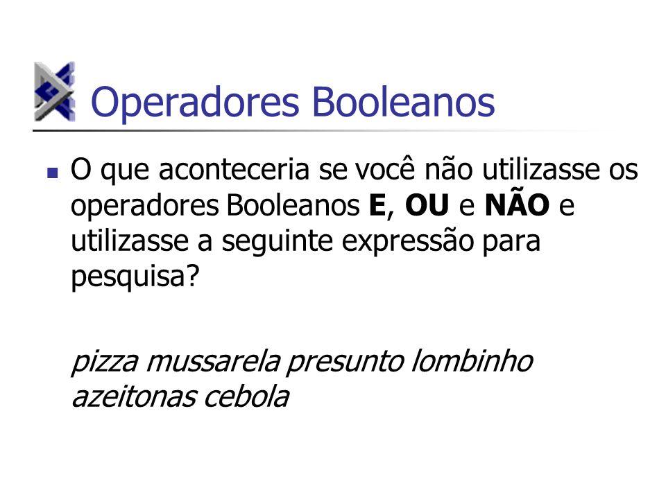 Operadores Booleanos O que aconteceria se você não utilizasse os operadores Booleanos E, OU e NÃO e utilizasse a seguinte expressão para pesquisa