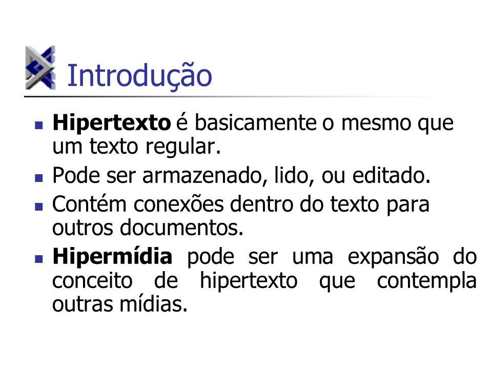 Introdução Hipertexto é basicamente o mesmo que um texto regular.