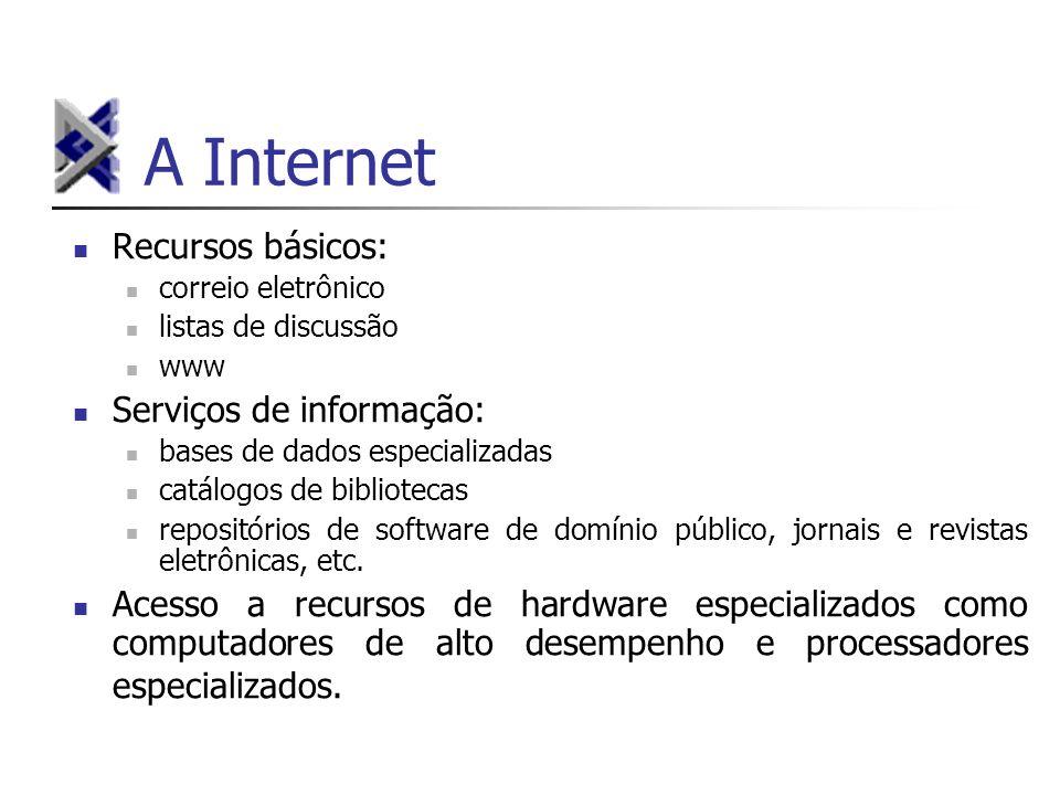 A Internet Recursos básicos: Serviços de informação:
