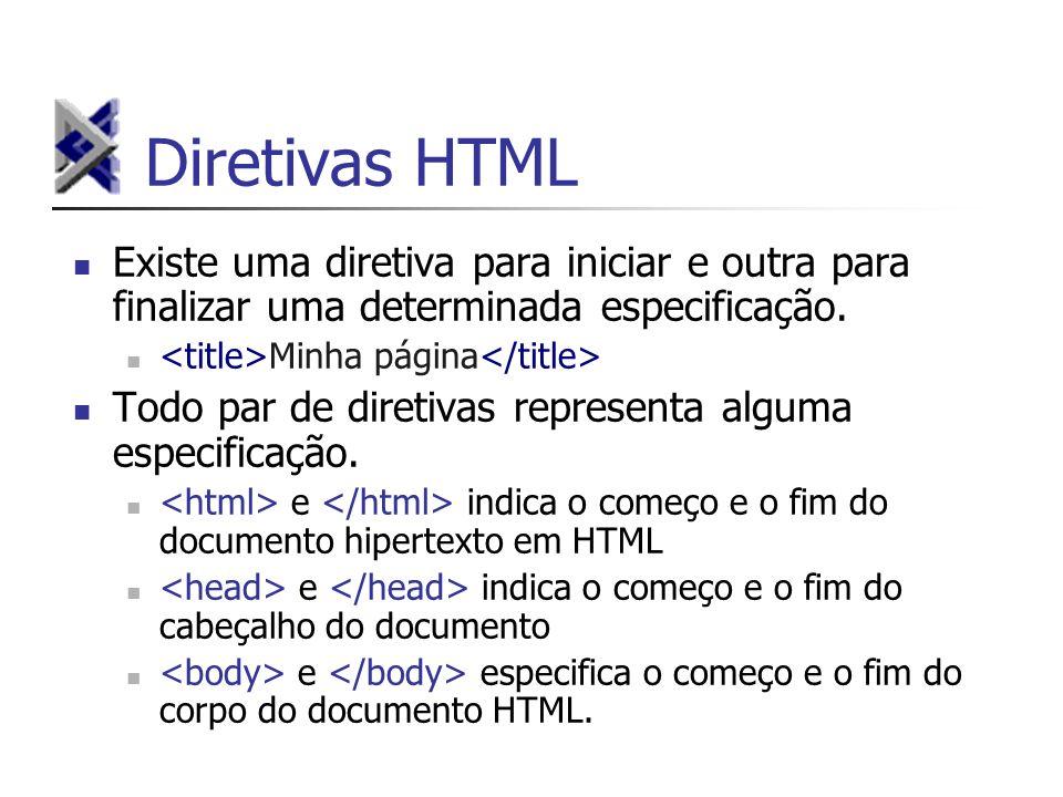 Diretivas HTML Existe uma diretiva para iniciar e outra para finalizar uma determinada especificação.