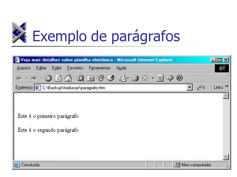 Exemplo de parágrafos