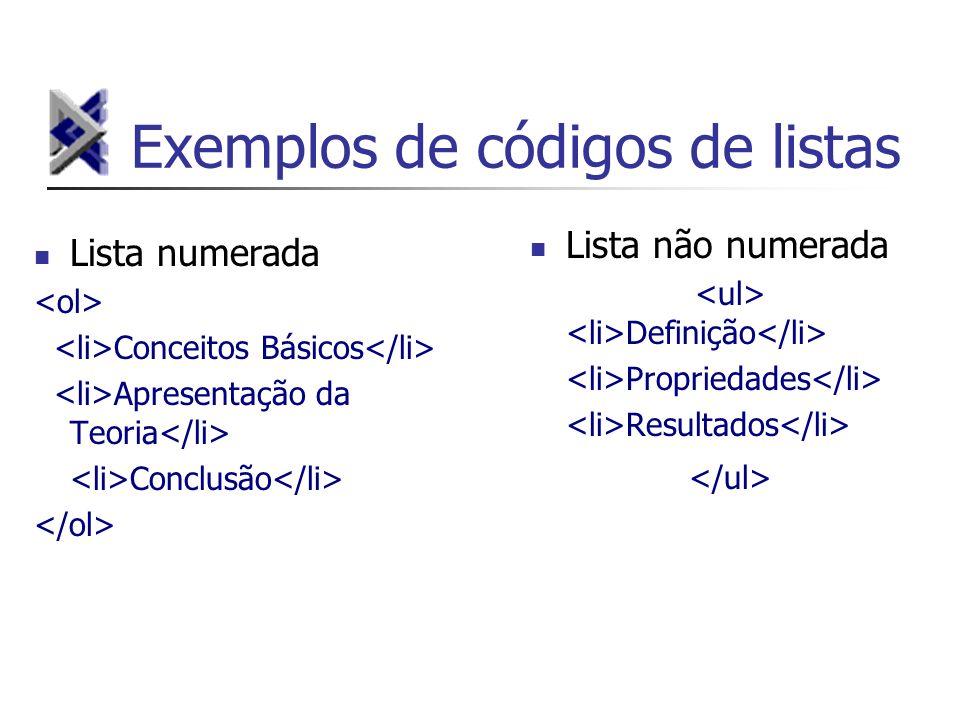Exemplos de códigos de listas