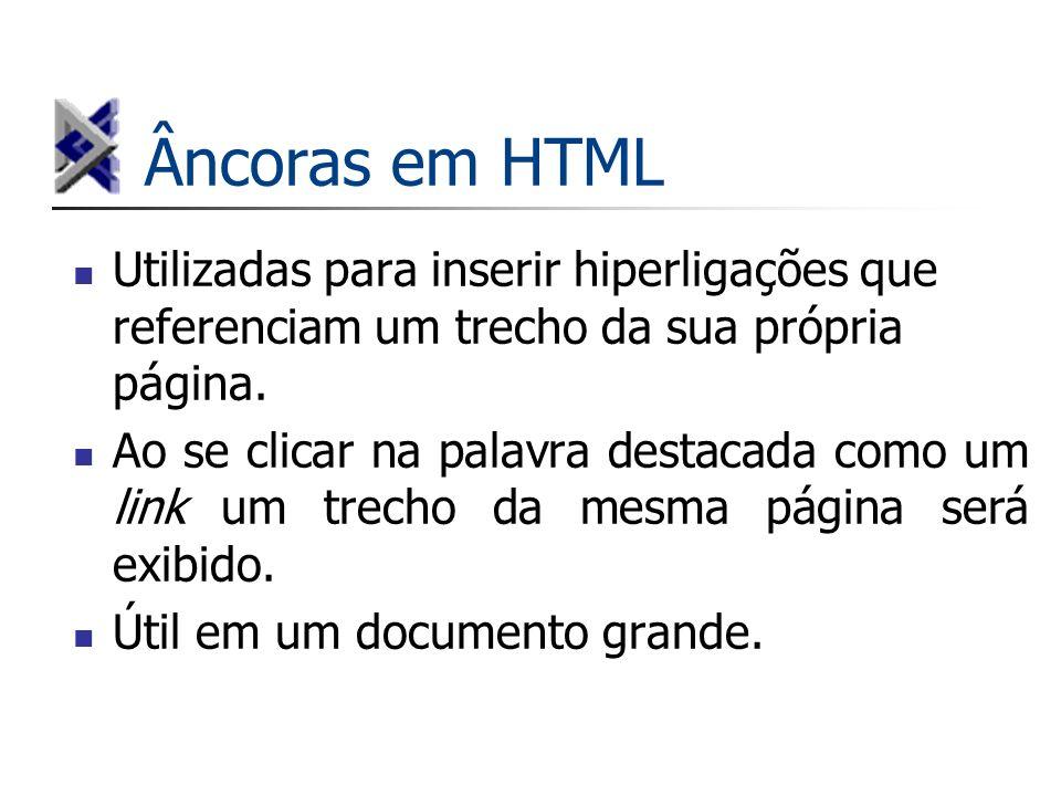 Âncoras em HTML Utilizadas para inserir hiperligações que referenciam um trecho da sua própria página.