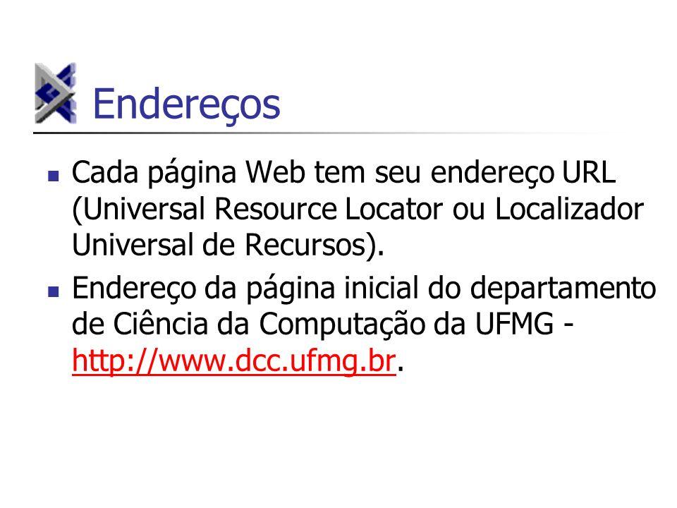 Endereços Cada página Web tem seu endereço URL (Universal Resource Locator ou Localizador Universal de Recursos).
