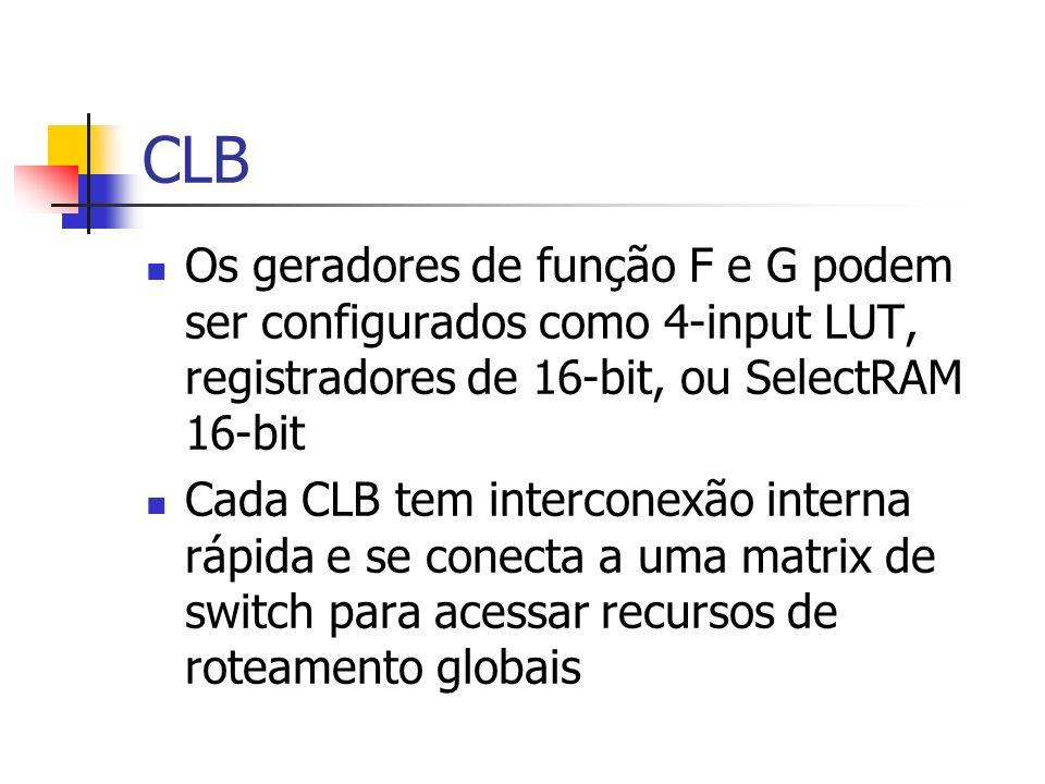 CLB Os geradores de função F e G podem ser configurados como 4-input LUT, registradores de 16-bit, ou SelectRAM 16-bit.