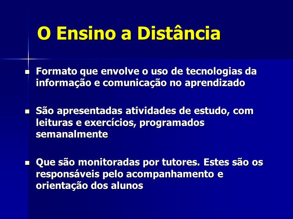O Ensino a DistânciaFormato que envolve o uso de tecnologias da informação e comunicação no aprendizado.