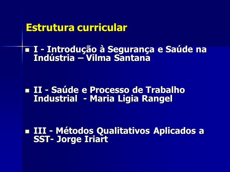 Estrutura curricularI - Introdução à Segurança e Saúde na Indústria – Vilma Santana.