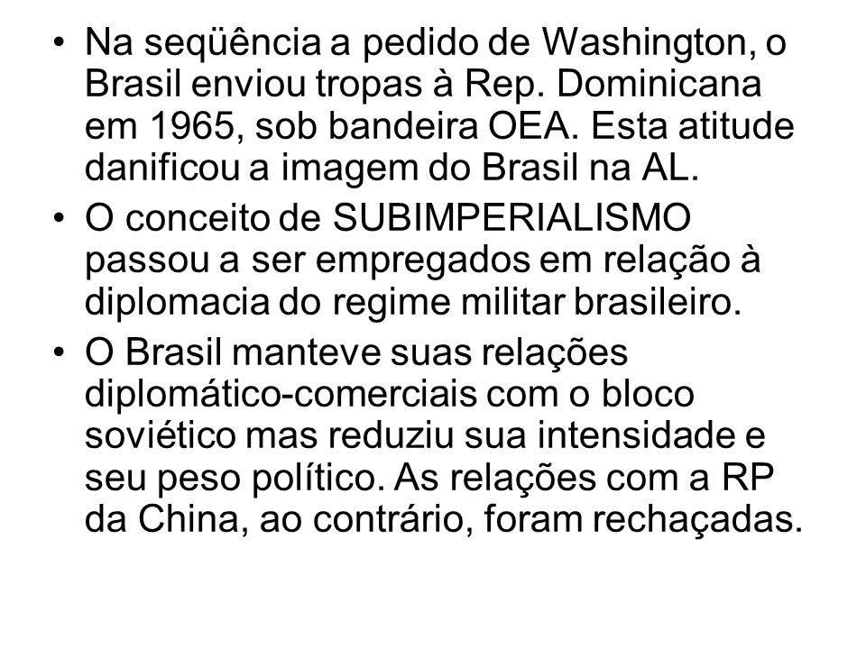 Na seqüência a pedido de Washington, o Brasil enviou tropas à Rep