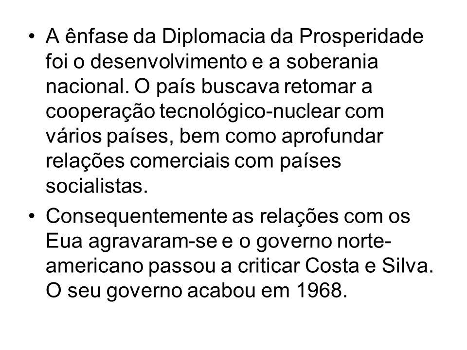 A ênfase da Diplomacia da Prosperidade foi o desenvolvimento e a soberania nacional. O país buscava retomar a cooperação tecnológico-nuclear com vários países, bem como aprofundar relações comerciais com países socialistas.