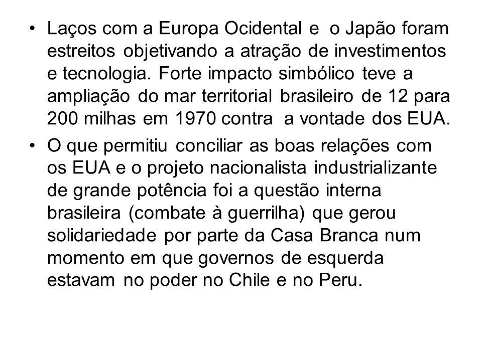 Laços com a Europa Ocidental e o Japão foram estreitos objetivando a atração de investimentos e tecnologia. Forte impacto simbólico teve a ampliação do mar territorial brasileiro de 12 para 200 milhas em 1970 contra a vontade dos EUA.
