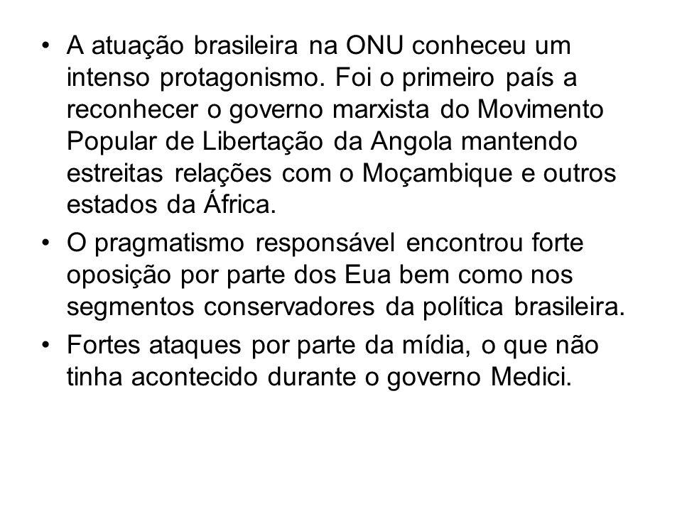 A atuação brasileira na ONU conheceu um intenso protagonismo