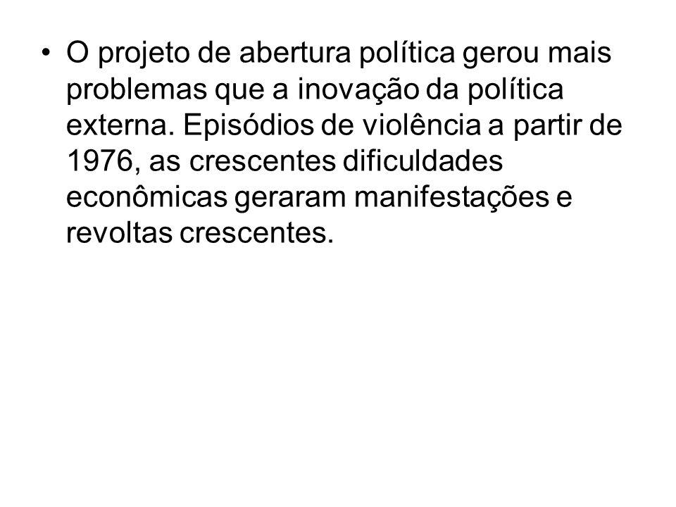 O projeto de abertura política gerou mais problemas que a inovação da política externa.