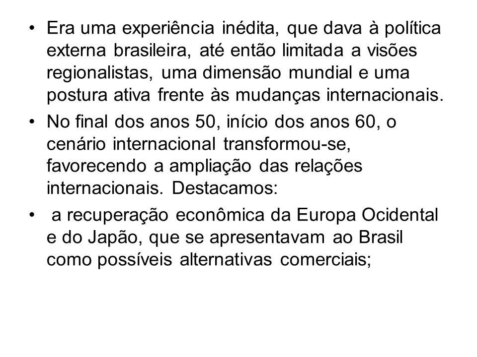 Era uma experiência inédita, que dava à política externa brasileira, até então limitada a visões regionalistas, uma dimensão mundial e uma postura ativa frente às mudanças internacionais.