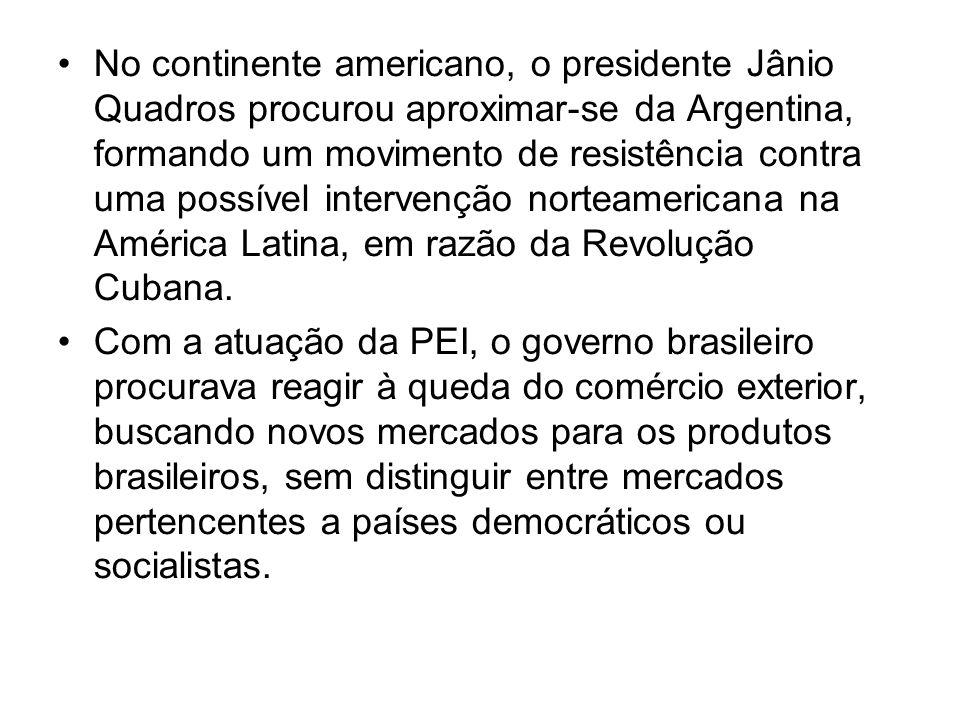No continente americano, o presidente Jânio Quadros procurou aproximar-se da Argentina, formando um movimento de resistência contra uma possível intervenção norteamericana na América Latina, em razão da Revolução Cubana.