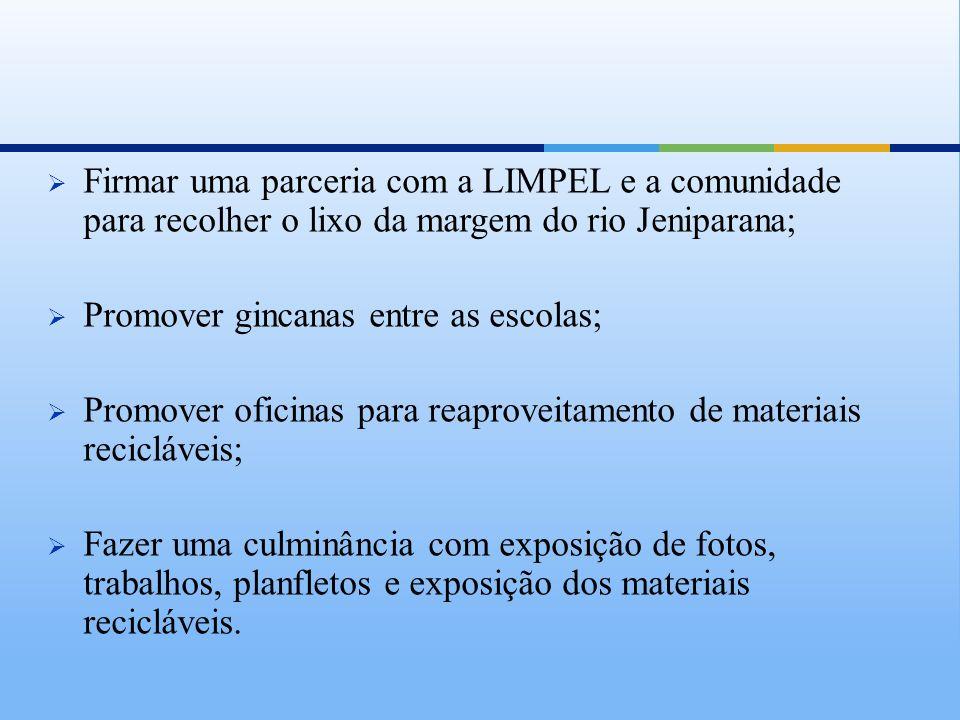 Firmar uma parceria com a LIMPEL e a comunidade para recolher o lixo da margem do rio Jeniparana;