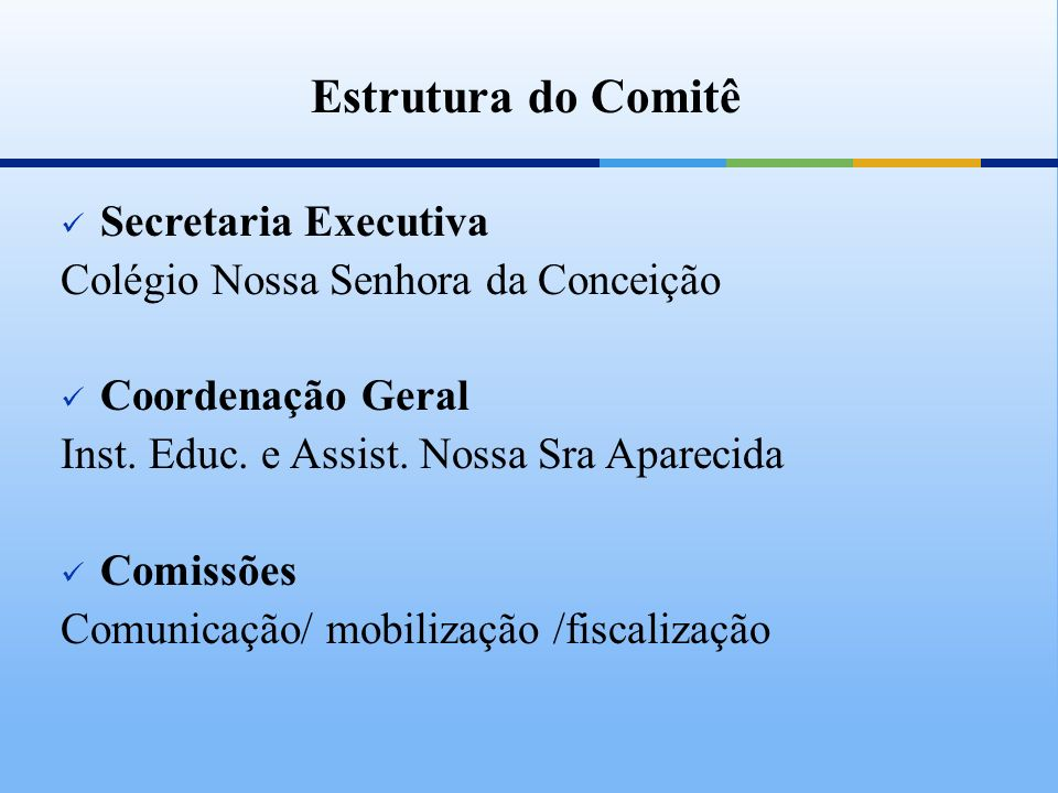 Estrutura do Comitê Secretaria Executiva