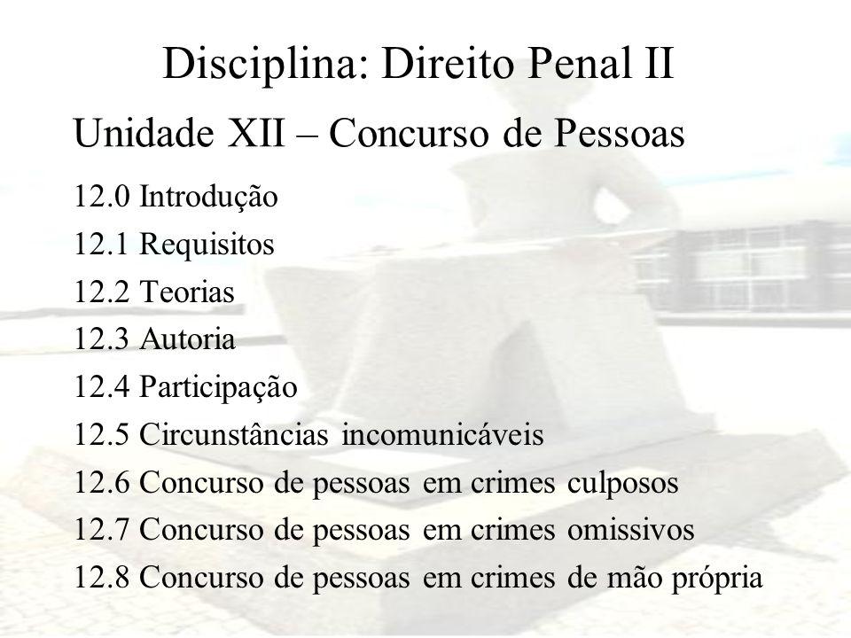 Disciplina: Direito Penal II