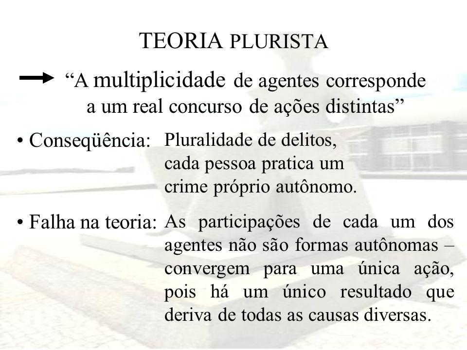 TEORIA PLURISTA A multiplicidade de agentes corresponde a um real concurso de ações distintas Conseqüência: