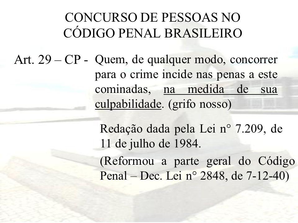 CONCURSO DE PESSOAS NO CÓDIGO PENAL BRASILEIRO