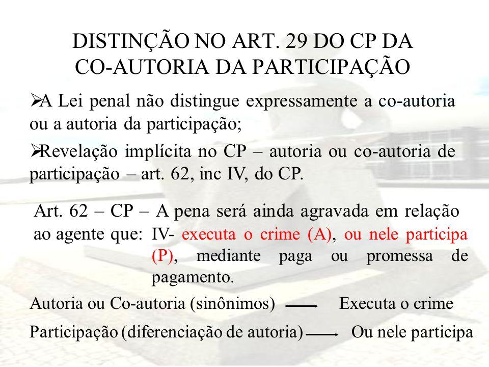 DISTINÇÃO NO ART. 29 DO CP DA CO-AUTORIA DA PARTICIPAÇÃO