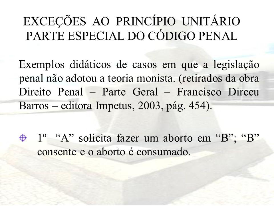 EXCEÇÕES AO PRINCÍPIO UNITÁRIO PARTE ESPECIAL DO CÓDIGO PENAL