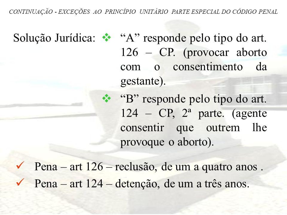 Pena – art 126 – reclusão, de um a quatro anos .