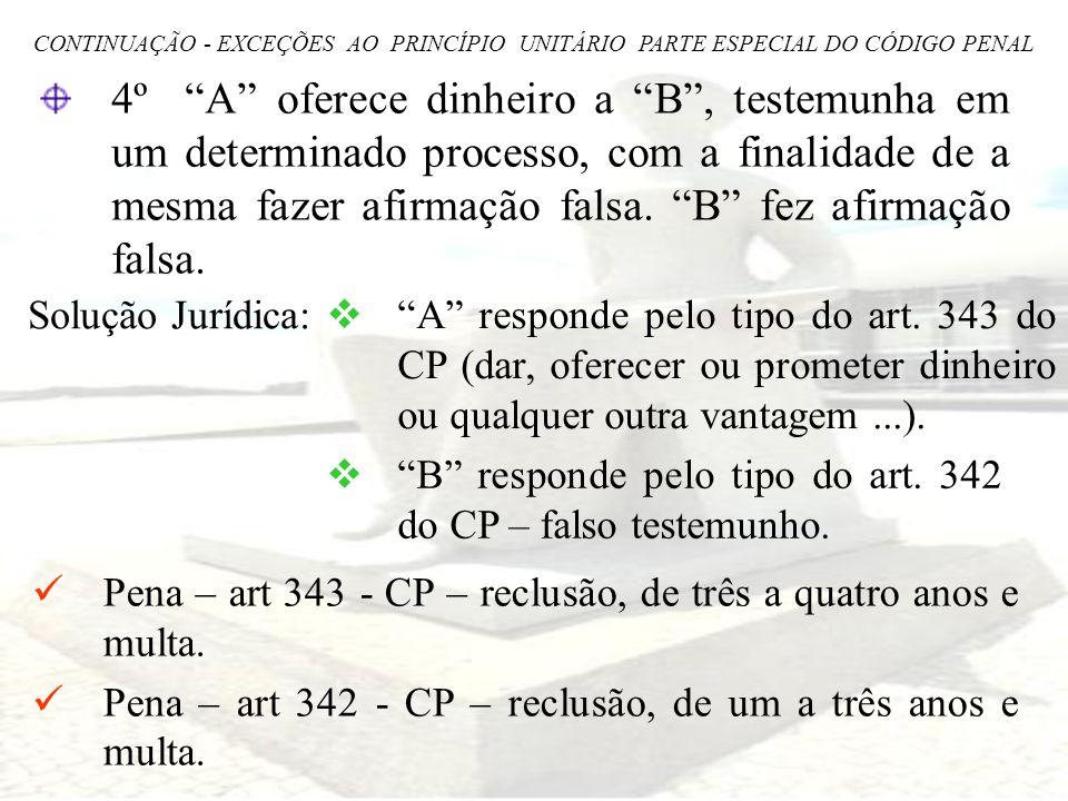 CONTINUAÇÃO - EXCEÇÕES AO PRINCÍPIO UNITÁRIO PARTE ESPECIAL DO CÓDIGO PENAL