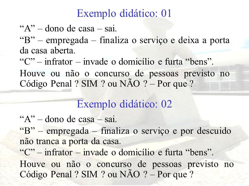 Exemplo didático: 01 Exemplo didático: 02 A – dono de casa – sai.