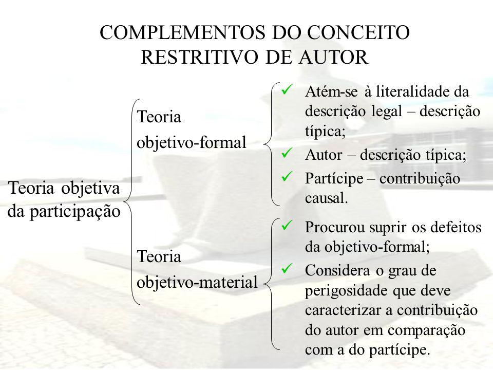 COMPLEMENTOS DO CONCEITO RESTRITIVO DE AUTOR