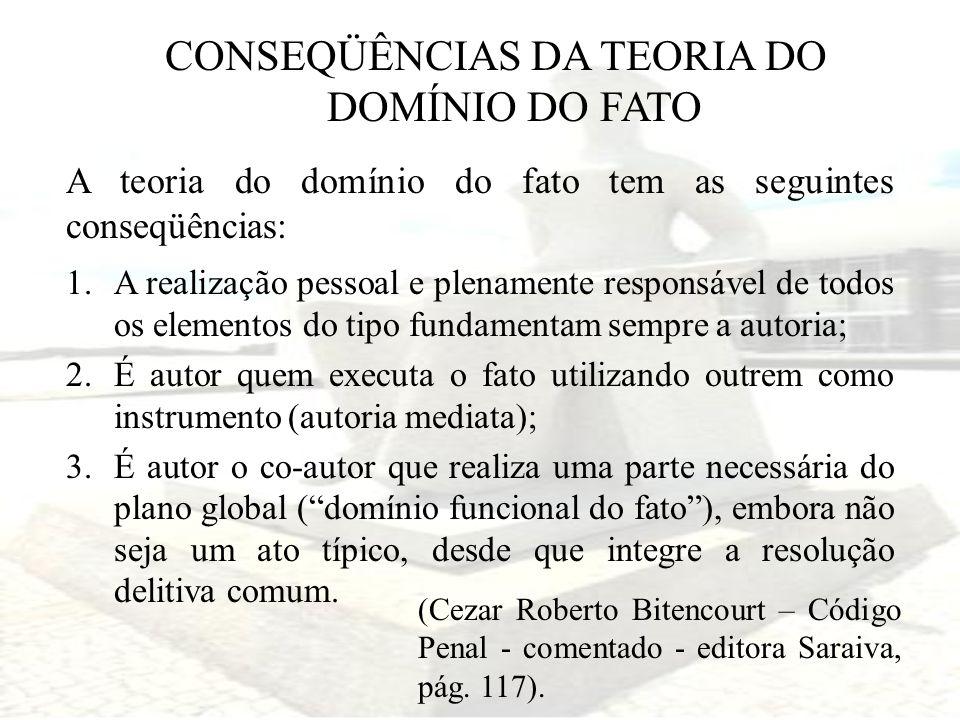 CONSEQÜÊNCIAS DA TEORIA DO DOMÍNIO DO FATO