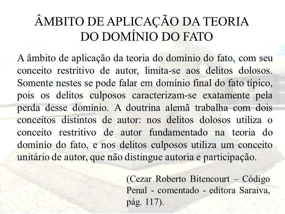 ÂMBITO DE APLICAÇÃO DA TEORIA DO DOMÍNIO DO FATO