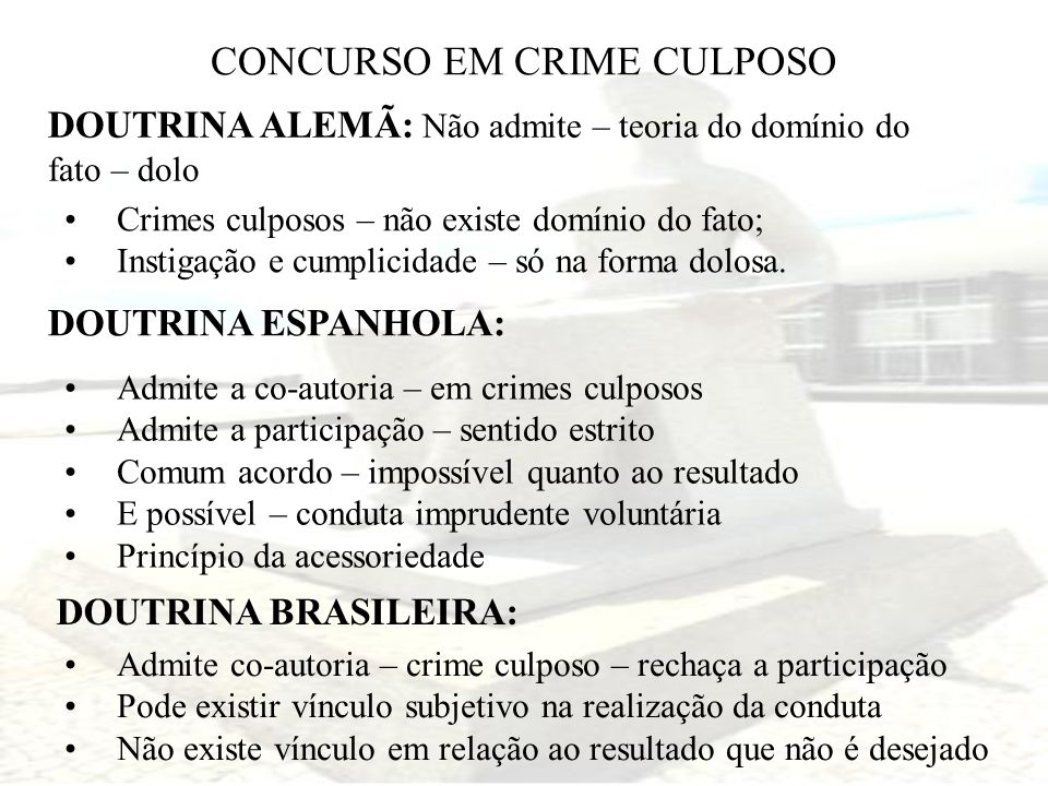 CONCURSO EM CRIME CULPOSO