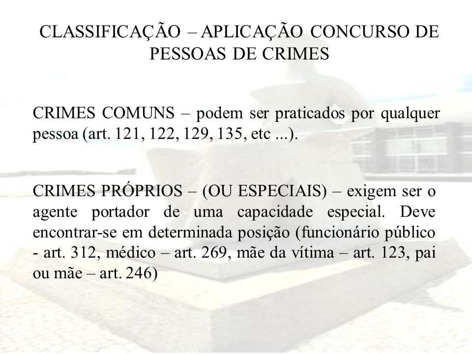 CLASSIFICAÇÃO – APLICAÇÃO CONCURSO DE PESSOAS DE CRIMES