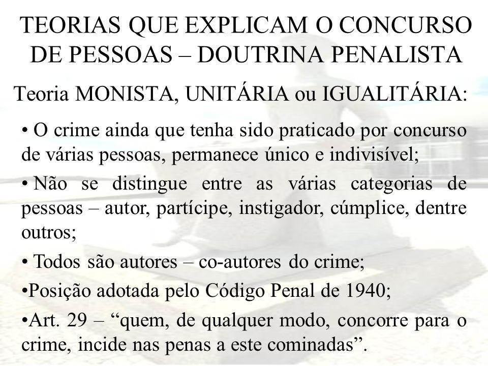TEORIAS QUE EXPLICAM O CONCURSO DE PESSOAS – DOUTRINA PENALISTA