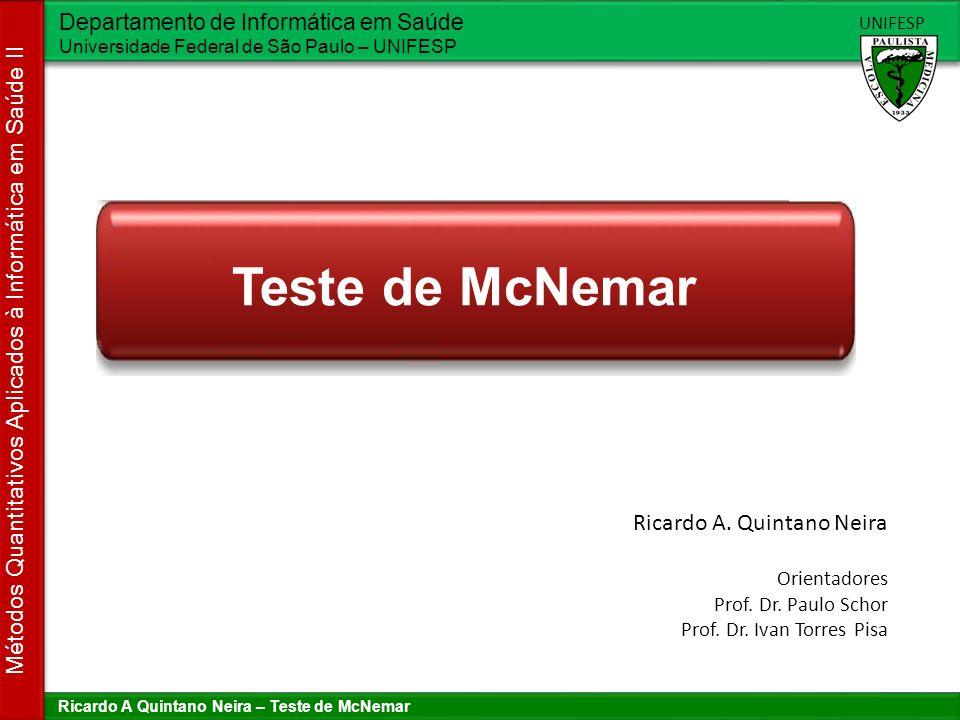 Teste de McNemar Ricardo A. Quintano Neira Orientadores