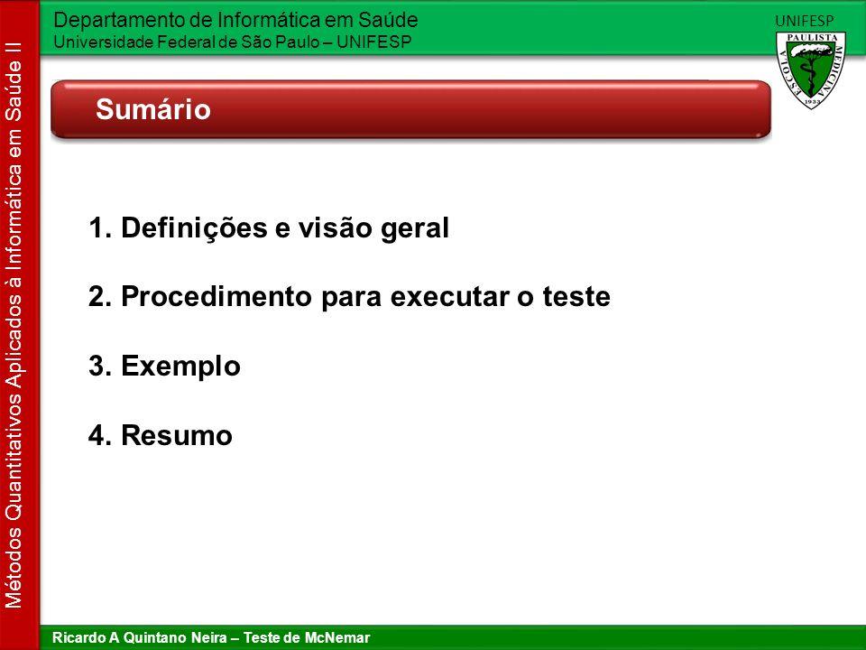 Definições e visão geral Procedimento para executar o teste Exemplo