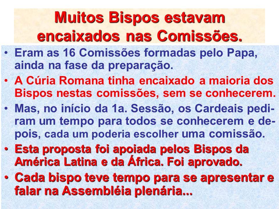 Muitos Bispos estavam encaixados nas Comissões.