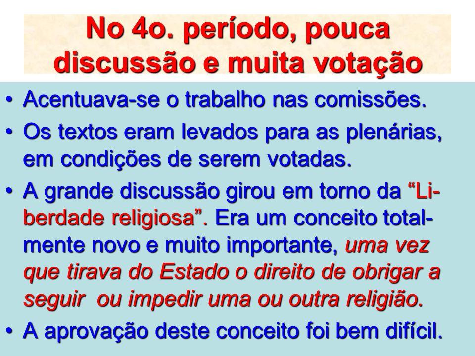 No 4o. período, pouca discussão e muita votação