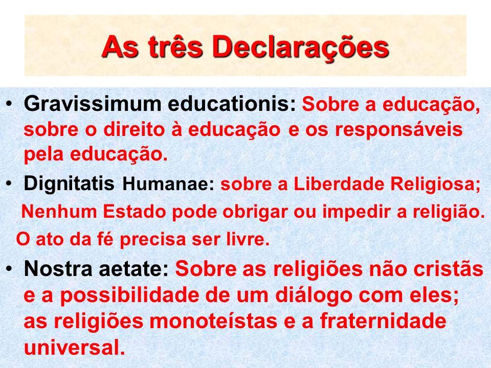 As três Declarações Gravissimum educationis: Sobre a educação, sobre o direito à educação e os responsáveis pela educação.