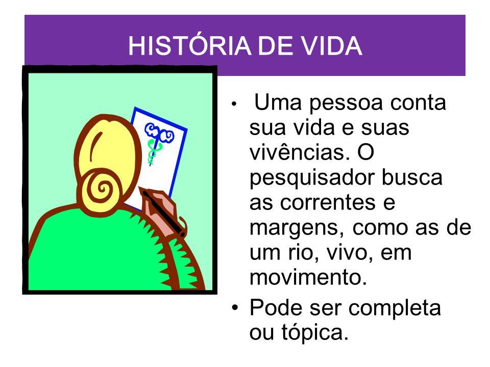 HISTÓRIA DE VIDA Pode ser completa ou tópica.