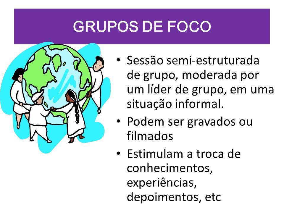 GRUPOS DE FOCO Sessão semi-estruturada de grupo, moderada por um líder de grupo, em uma situação informal.