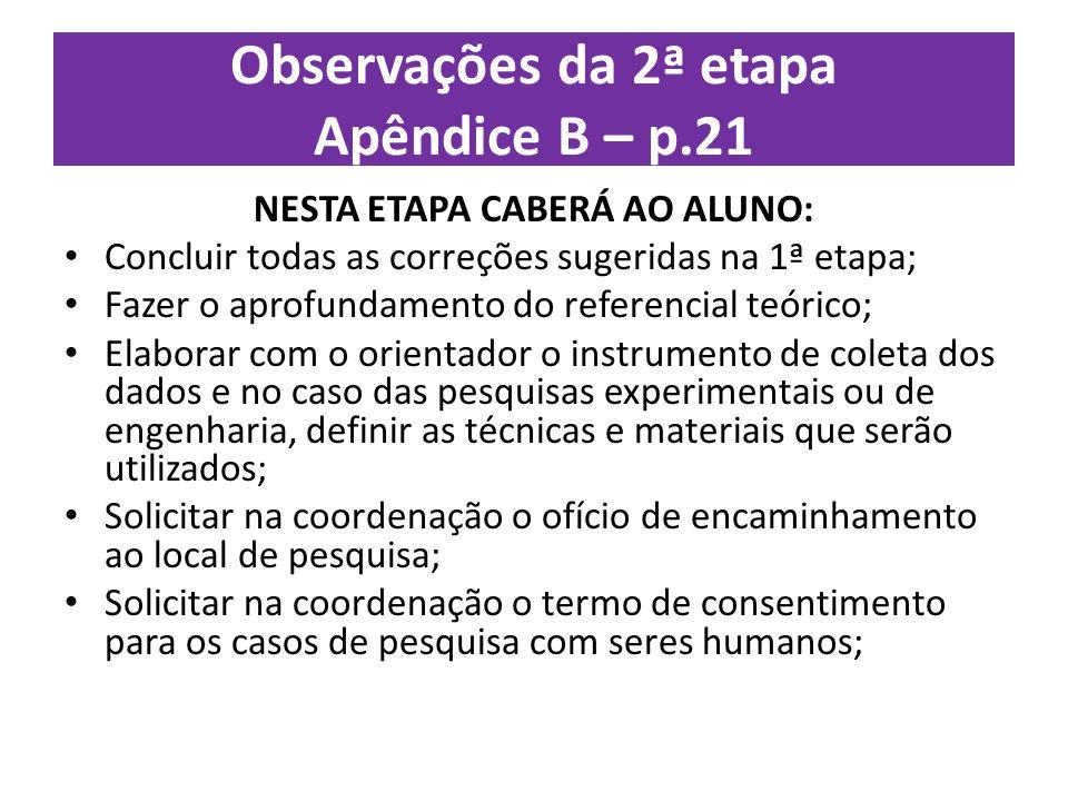 Observações da 2ª etapa Apêndice B – p.21