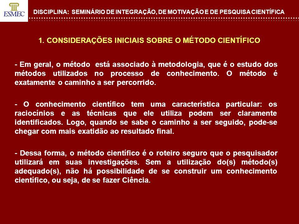 1. CONSIDERAÇÕES INICIAIS SOBRE O MÉTODO CIENTÍFICO