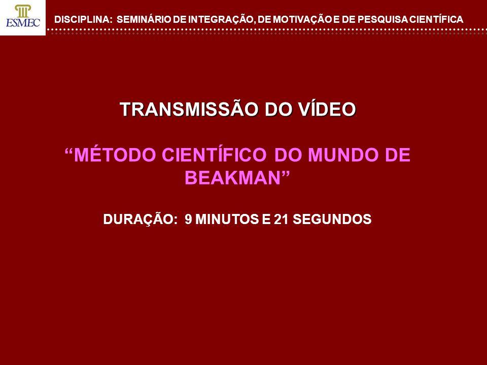 TRANSMISSÃO DO VÍDEO MÉTODO CIENTÍFICO DO MUNDO DE BEAKMAN