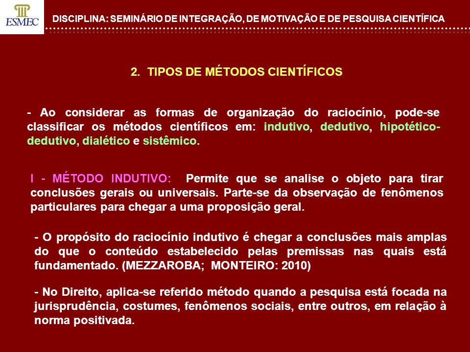 2. TIPOS DE MÉTODOS CIENTÍFICOS