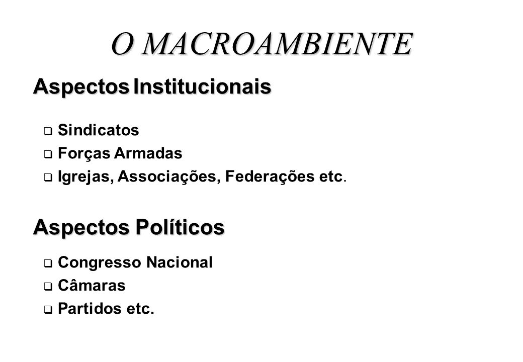 O MACROAMBIENTE Aspectos Institucionais Aspectos Políticos Sindicatos