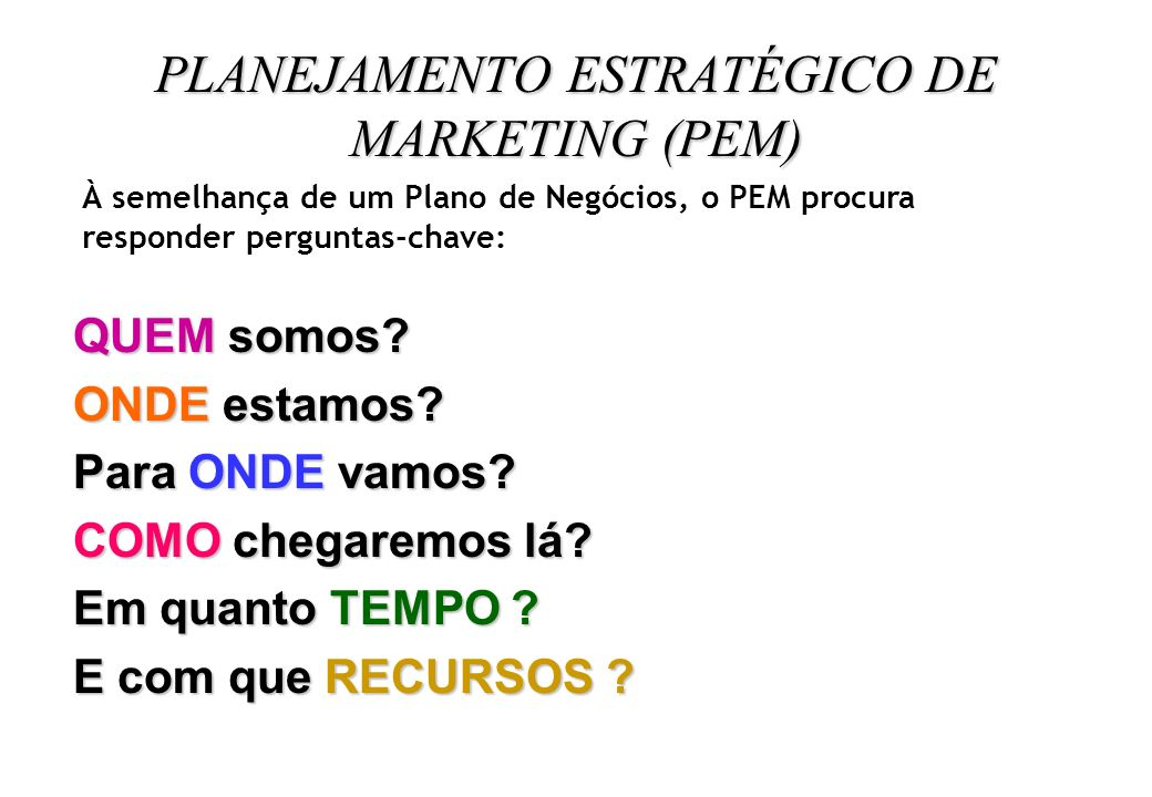 PLANEJAMENTO ESTRATÉGICO DE MARKETING (PEM)
