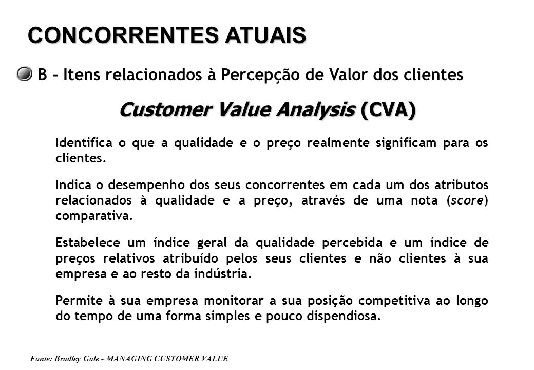 Customer Value Analysis (CVA)