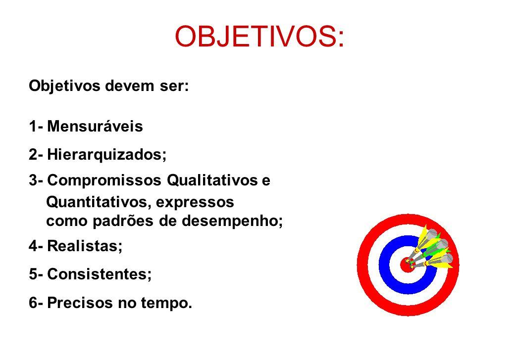 OBJETIVOS: Objetivos devem ser: 1- Mensuráveis 2- Hierarquizados;